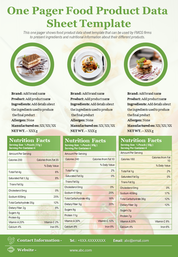 One-Page Food Product Data Sheet Template
