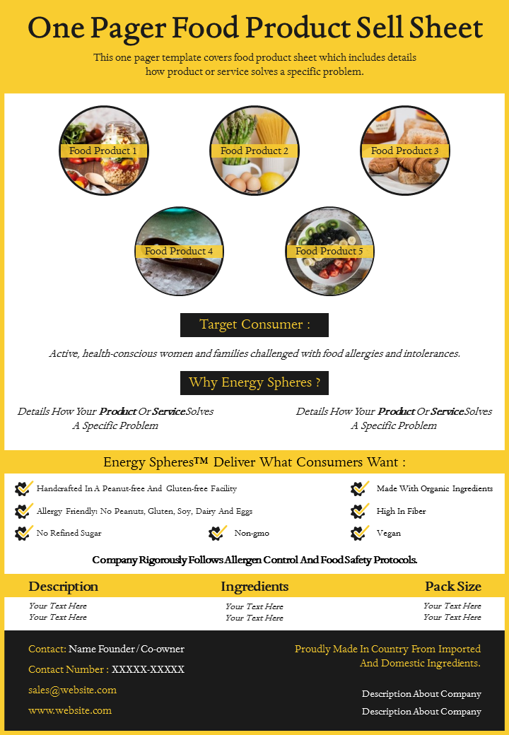 One-Page Food Product Sell Sheet Template