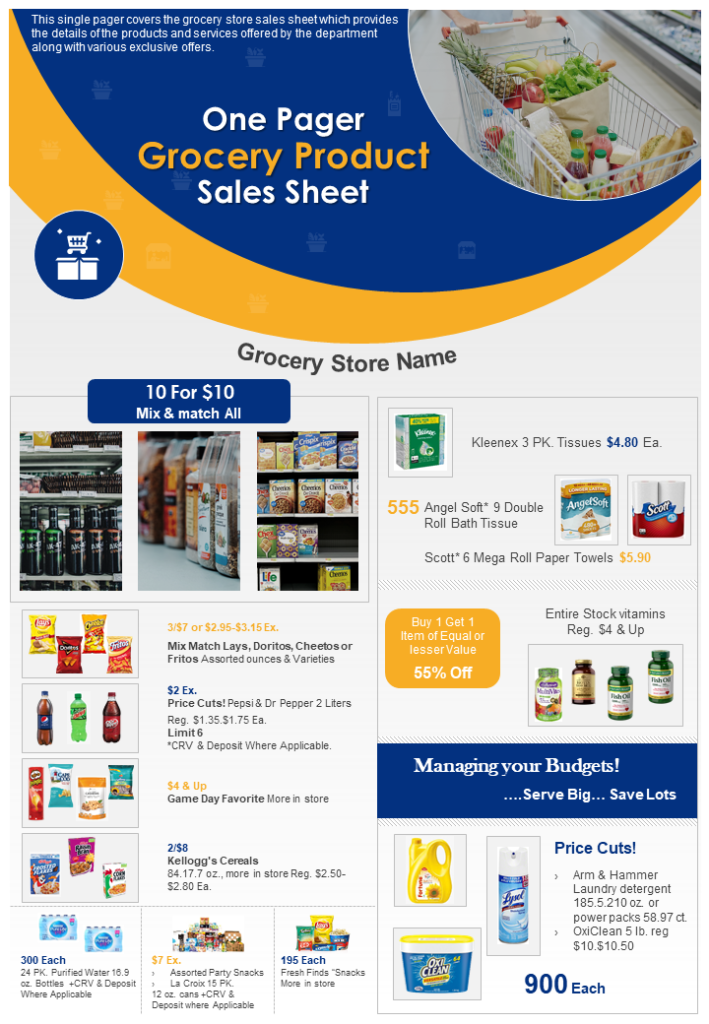 One Page Grocery Product Sales Sheet Template