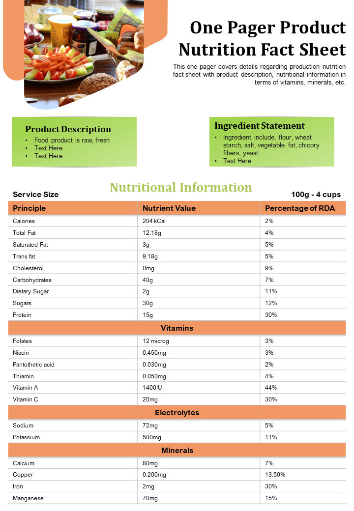 One-Page Product Nutrition Fact Sheet Template
