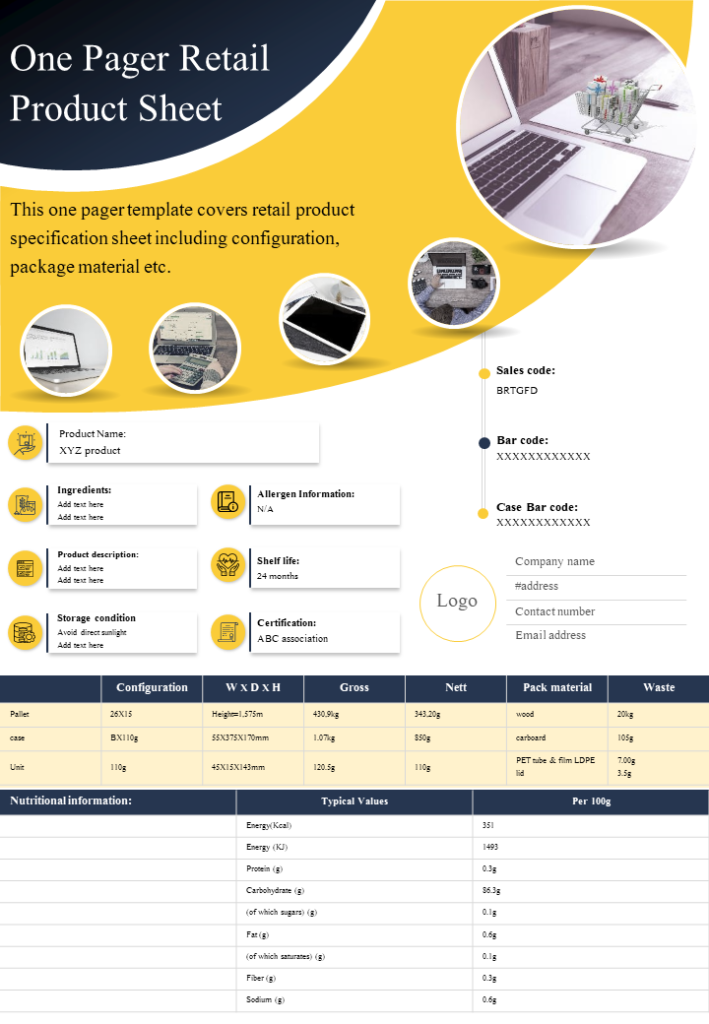 One Page Retail Product Sheet Presentation
