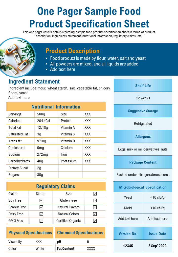 Download One-Page Food Product Specification Sheet Template