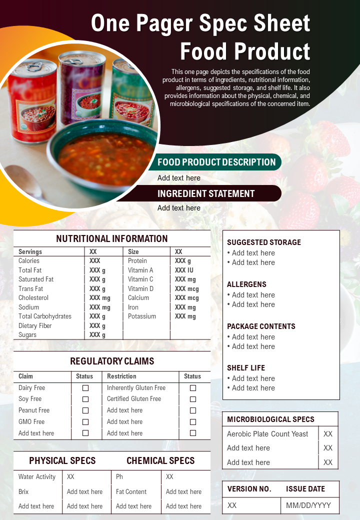 One-Page Food Product Spec Sheet Template