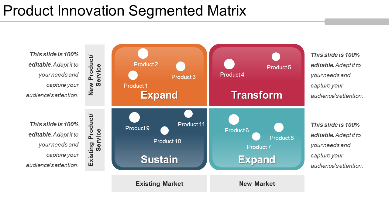 Product Innovation Segmented Matrix PPT