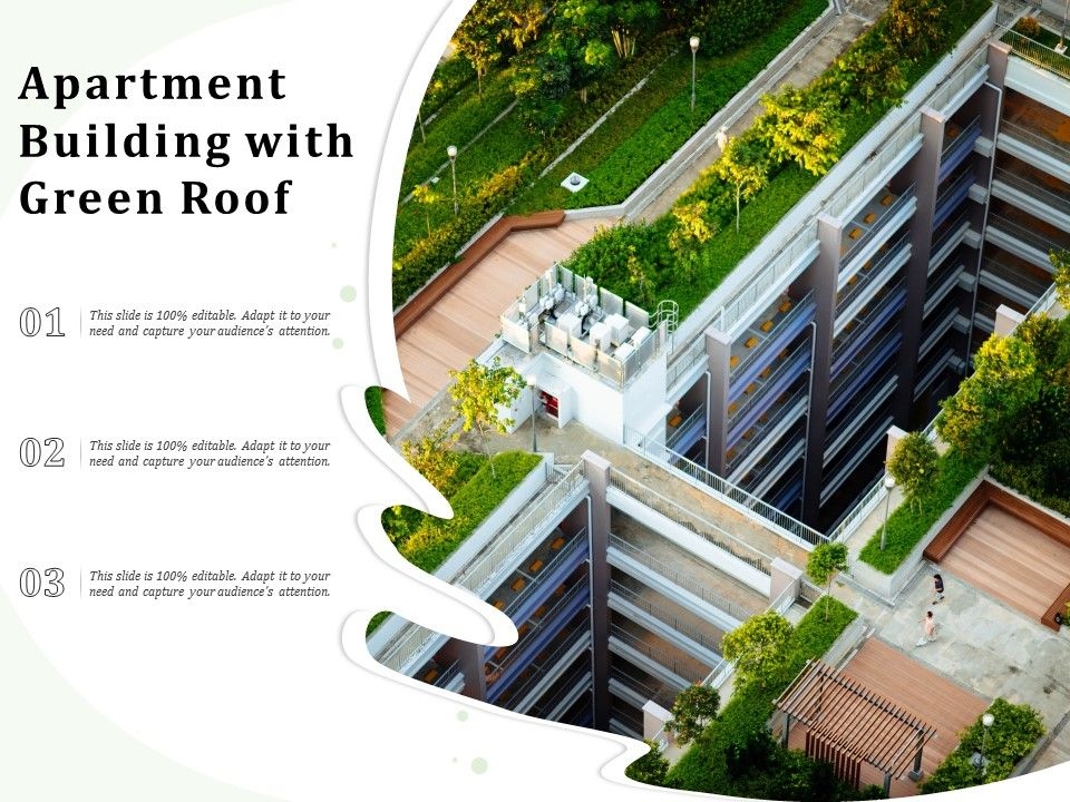 Apartment Building With With Green Roof