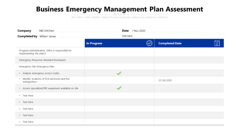 Business Emergency Management Plan Assessment