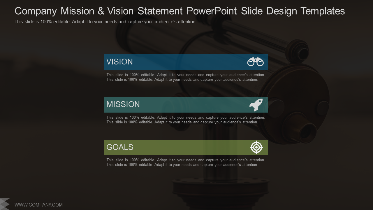 Company Mission And Vision Statement PowerPoint Slides