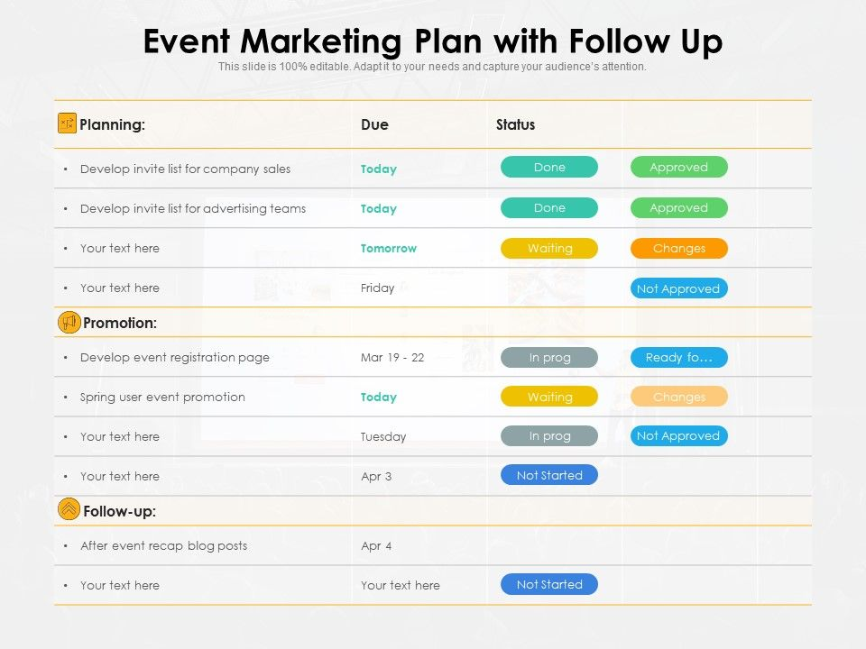 Event Marketing Plan With Follow Up