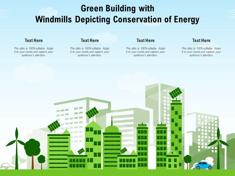 Green Building Template With Windmills Depicting Conservation Of Energy