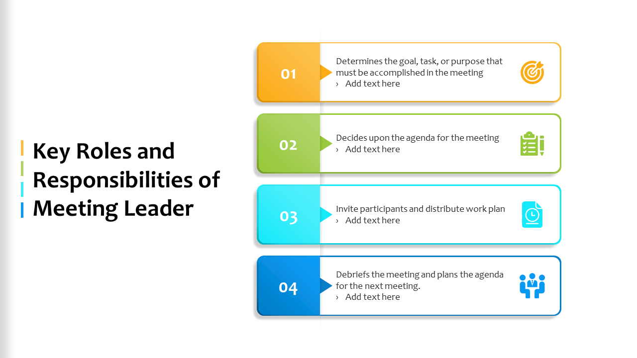 Key Roles And Responsibilities Of Meeting Leader PowerPoint Slides