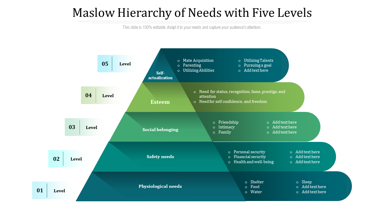 Maslow Hierarchy Of Needs With Five Levels