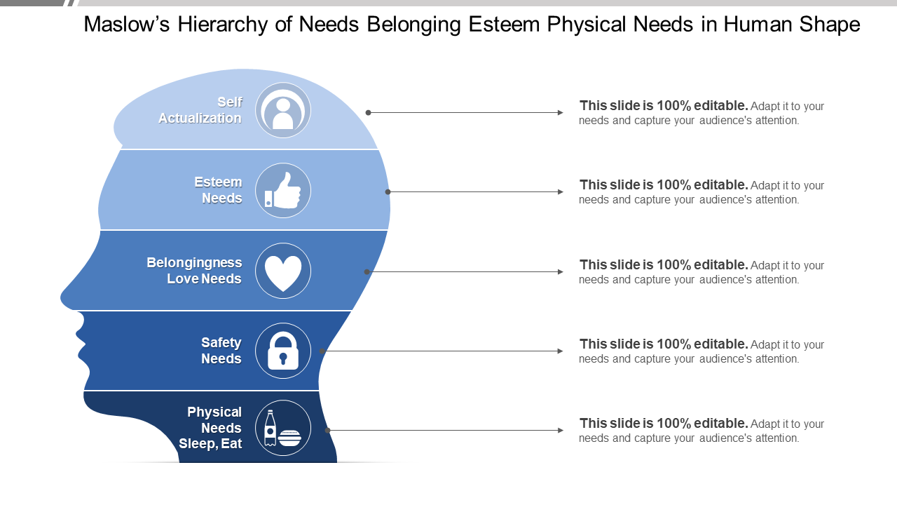 Maslows Hierarchy Of Needs Belonging Esteem Physical Needs In Human Shape