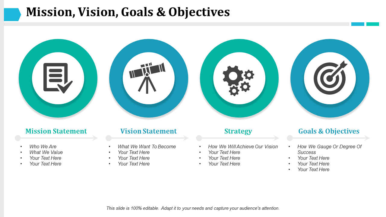 Mission Vision Goals And Objectives PowerPoint Slides