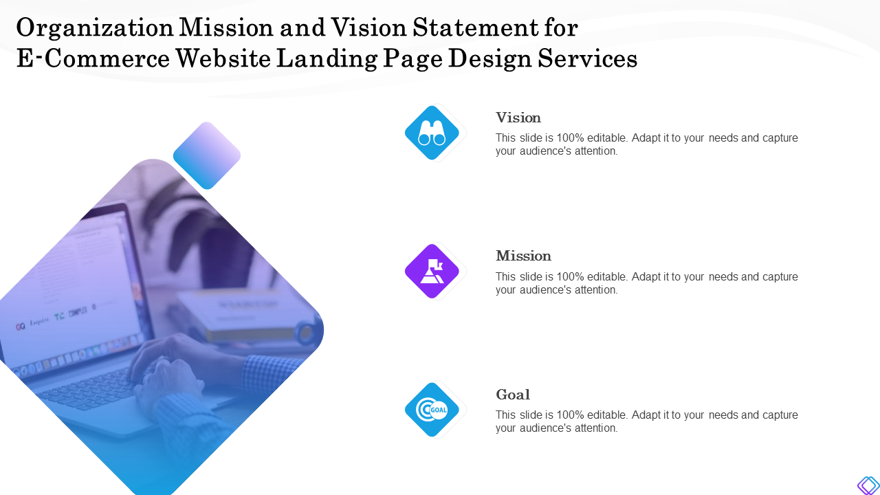 Organization Mission And Vision Statement For E Commerce PowerPoint Slides