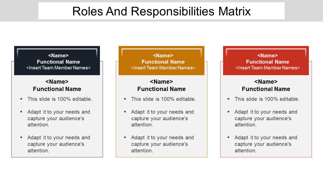 Roles And Responsibilities Matrix PowerPoint Slides