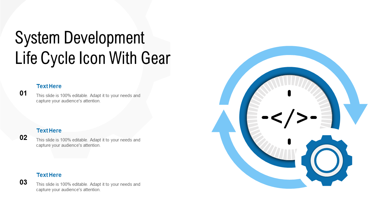 System Development Life Cycle Icon With Gear PPT Templates