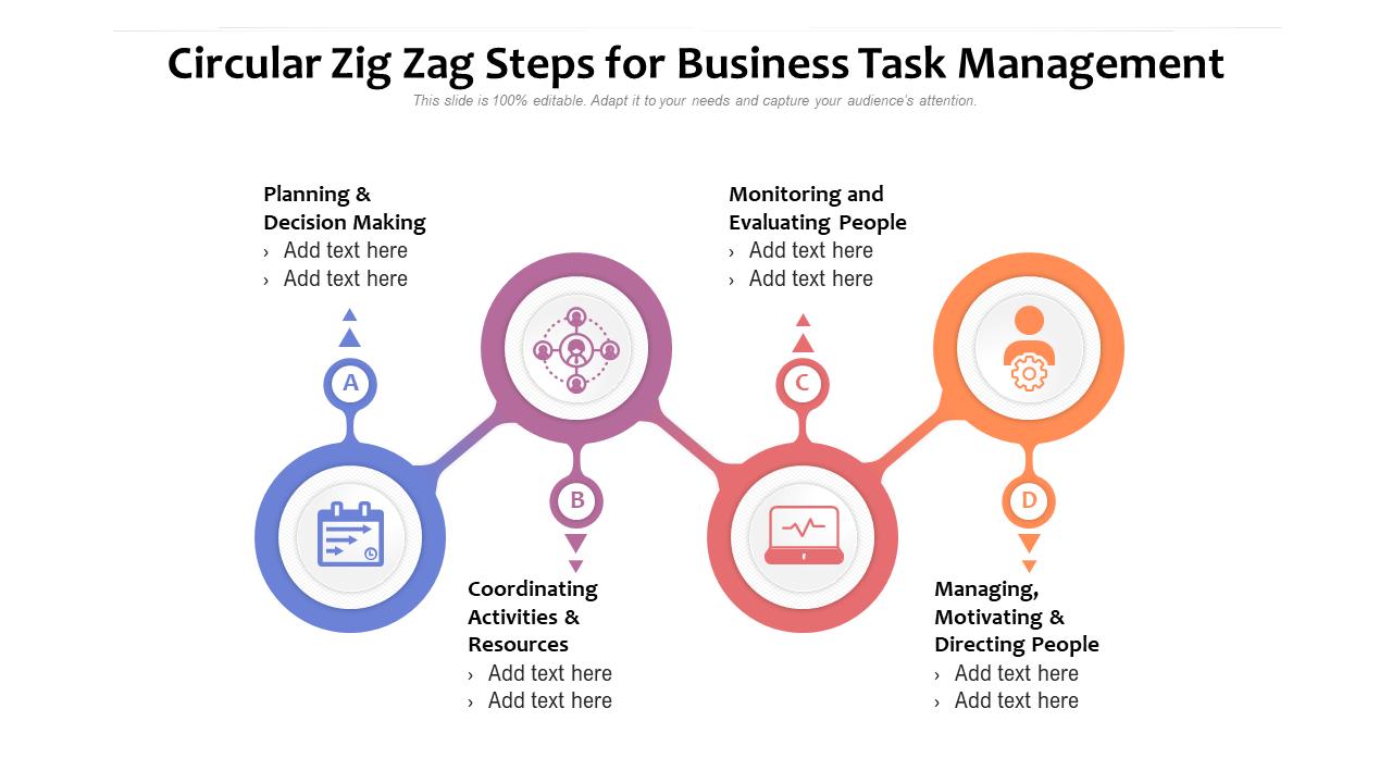 Circular Zig Zag Steps For Business Task Management