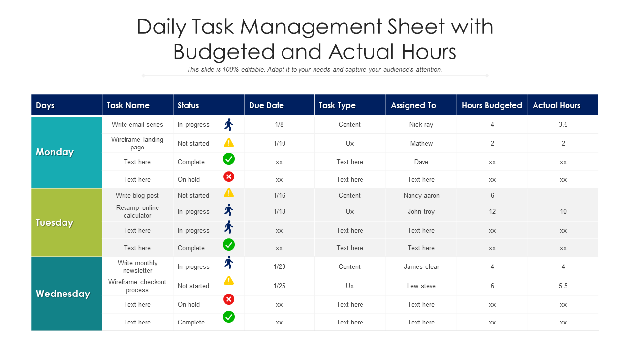 Daily Task Management Sheet With Budgeted And Actual Hours