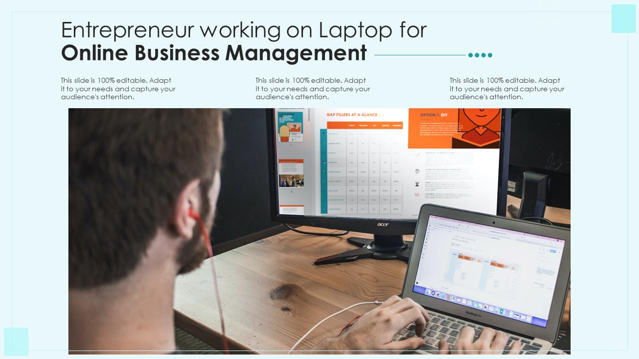 Entrepreneur Working On Laptop For Online Business Management