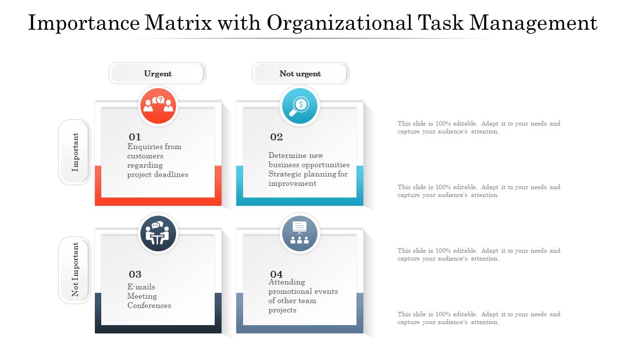 Importance Matrix With Organizational Task Management Templates