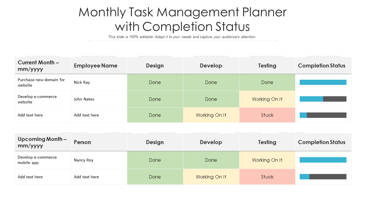 Monthly Task Management Planner With Completion Status