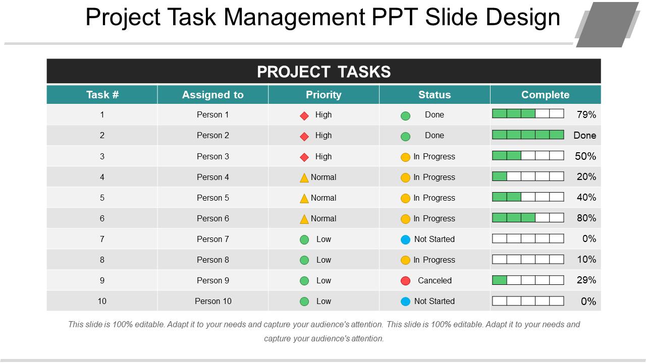 Project Task Management PPT Slide Design