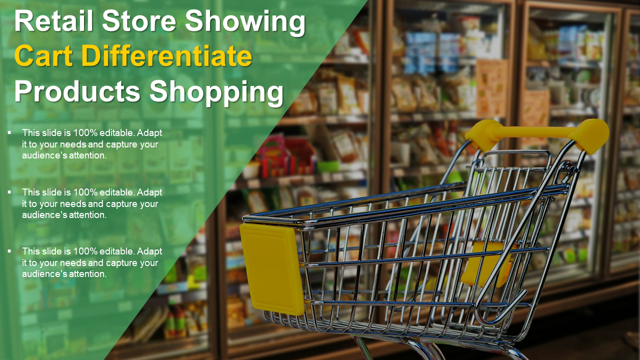 Retail Store Showing Cart Differentiate Products Shopping Template