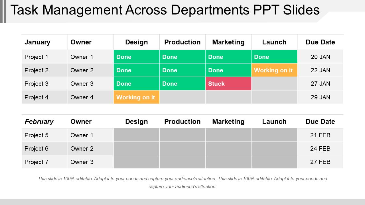 Task Management Across Departments PPT Slides