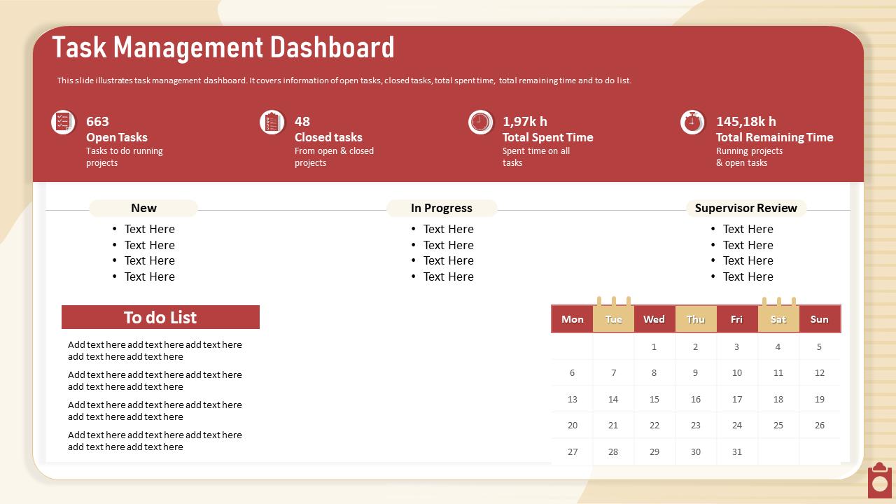Task Management Dashboard Closed Tasks PowerPoint