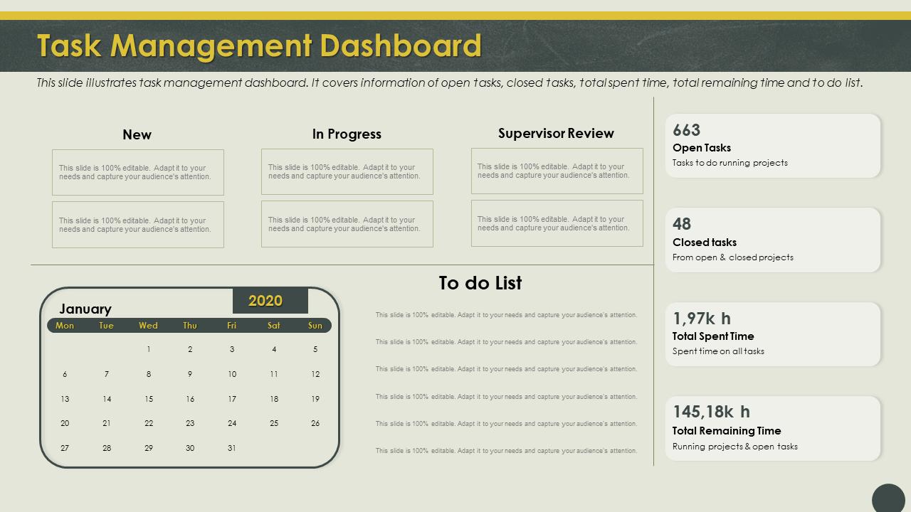 Task Management Dashboard Illustrates PPT PowerPoint Presentation