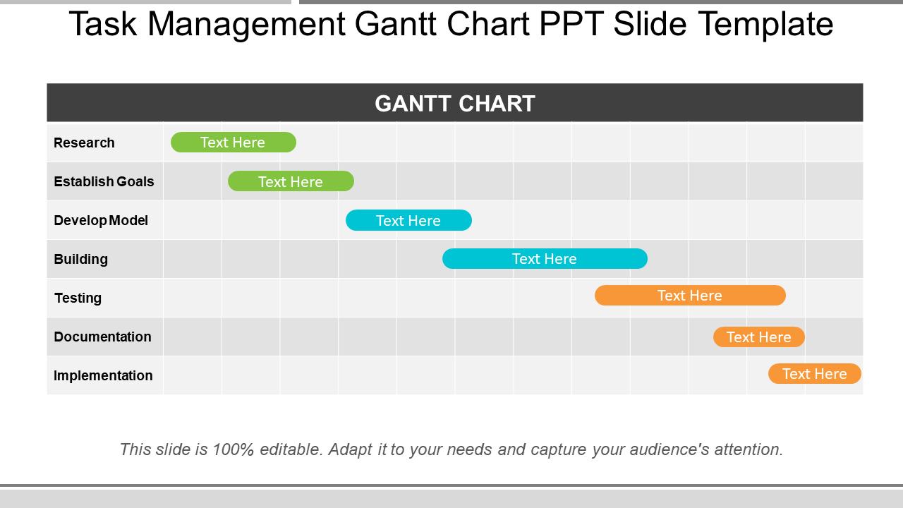 Task Management Gantt Chart PPT Slide Templates