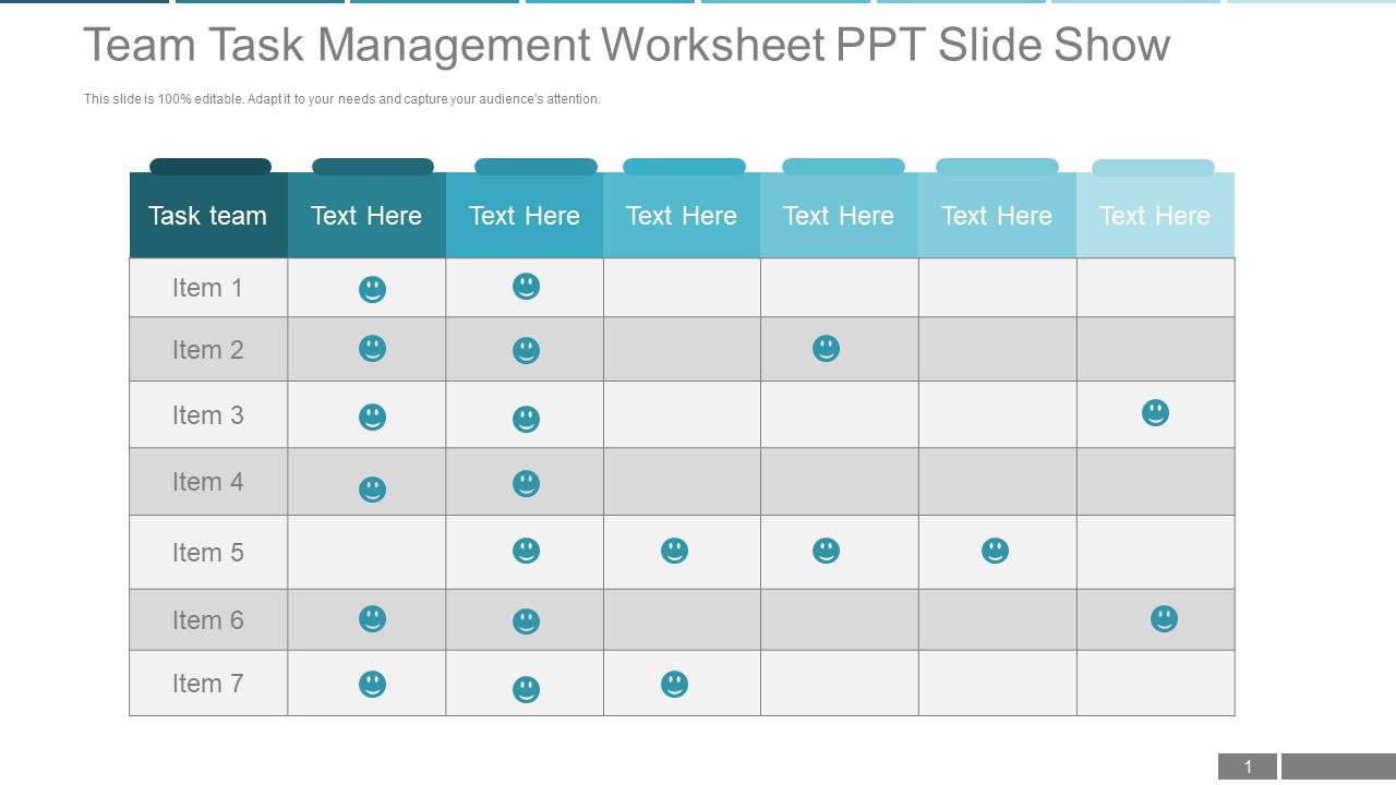 Team Task Management Worksheet Templates