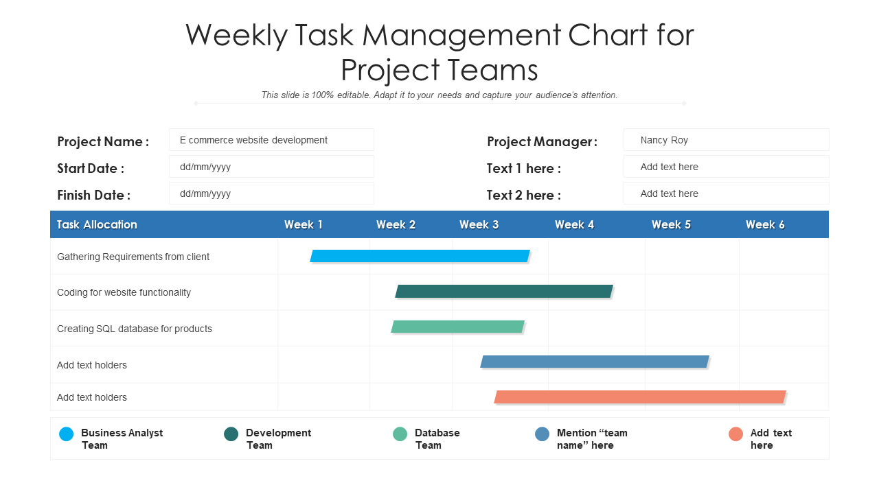 Weekly Task Management Chart For Project Teams