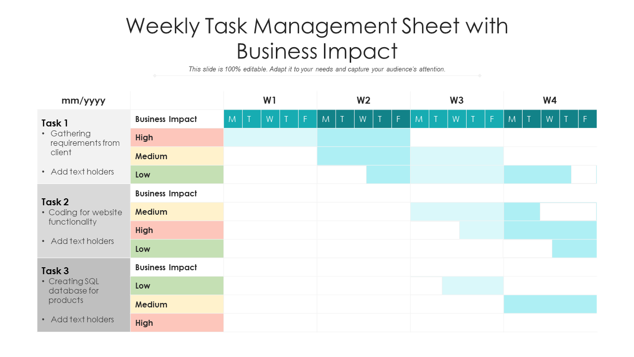 Weekly Task Management Sheet With Business Impact