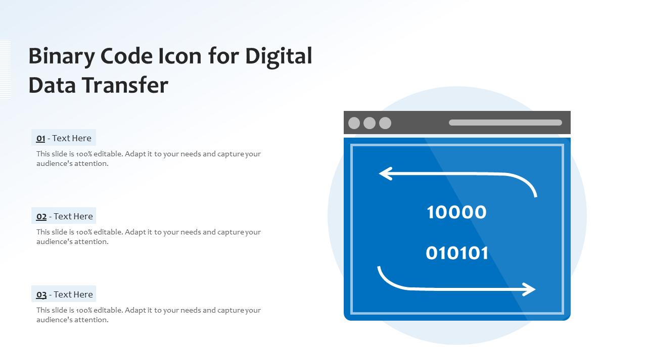 Binary Code Icon For Digital Data Transfer