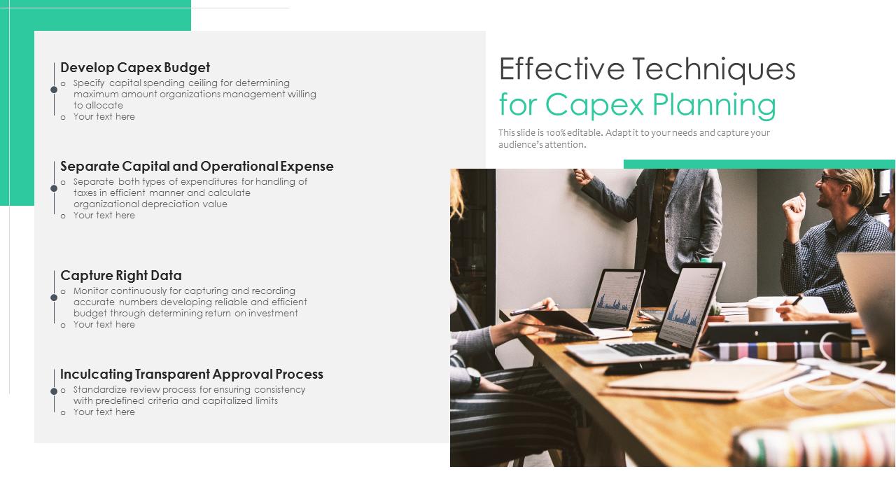 Effective Techniques For Capex Planning PowerPoint Slides