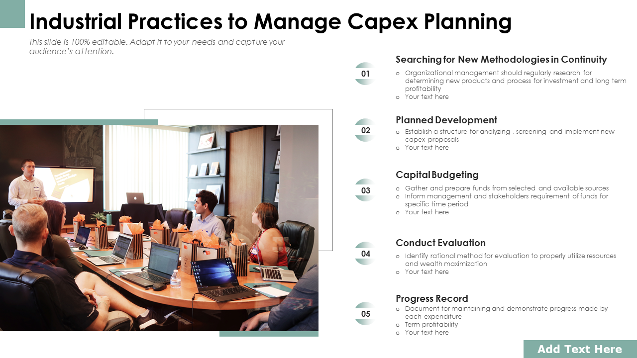 Industrial Practices To Manage Capex Planning PowerPoint Slides