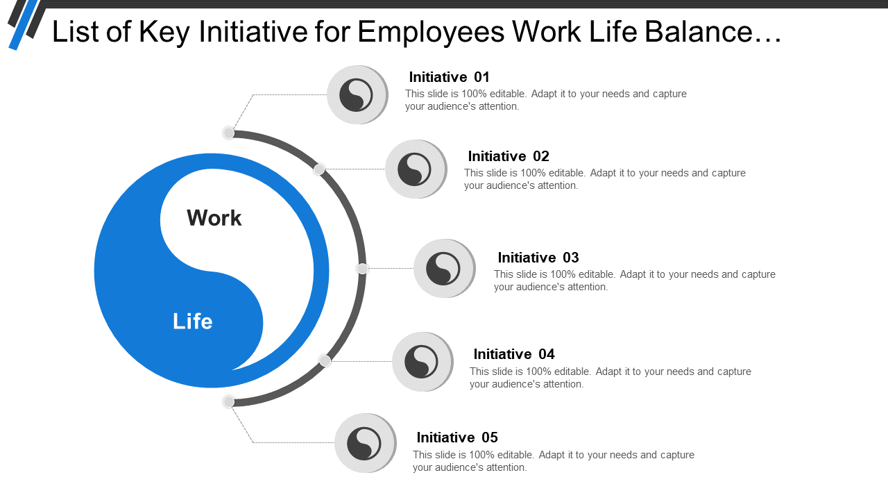 Key Initiatives For Work-Life Balance PPT Template
