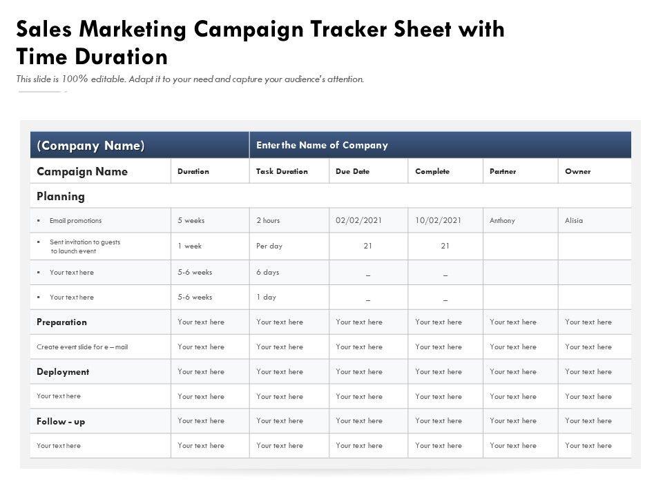 Sales Marketing Campaign Tracker Sheet