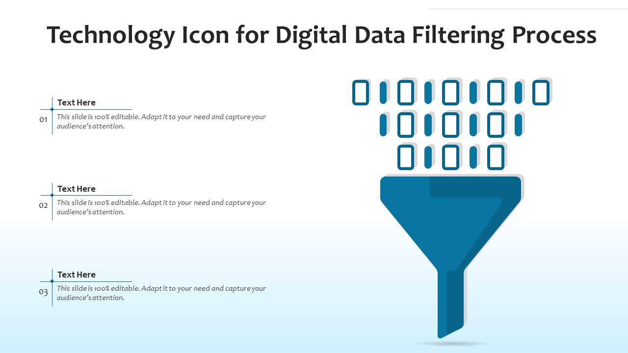 Technology Icon For Digital Data Filtering Process Template