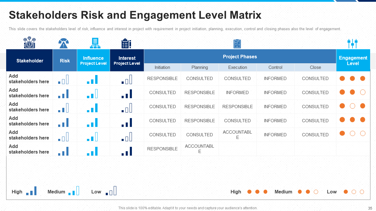 Stakeholder Risk and Engagement Level Matrix PowerPoint Template