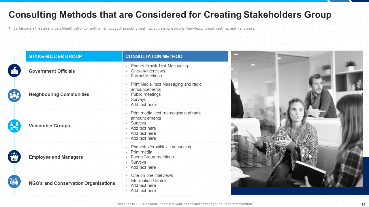Consulting Methods for Creating Stakeholders' Group PPT