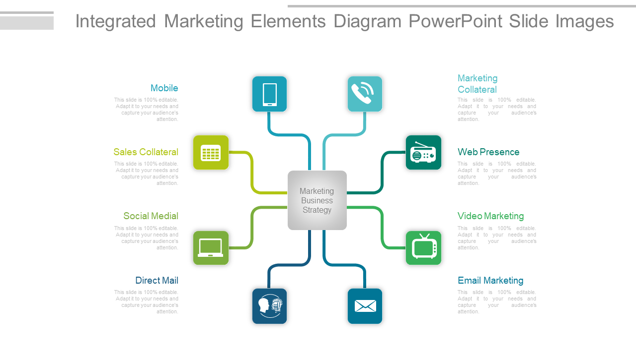 Integrated Marketing Elements Diagram PowerPoint Slide