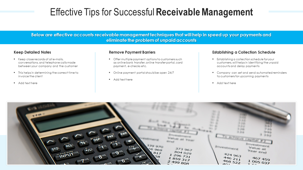 Effective Tips For Successful Receivable Management PowerPoint Slides