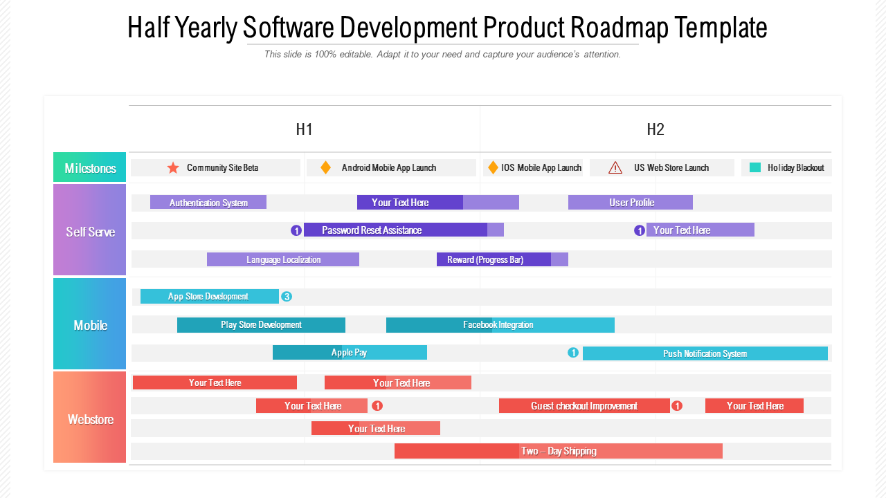 Half Yearly Software Development Product Roadmap Template