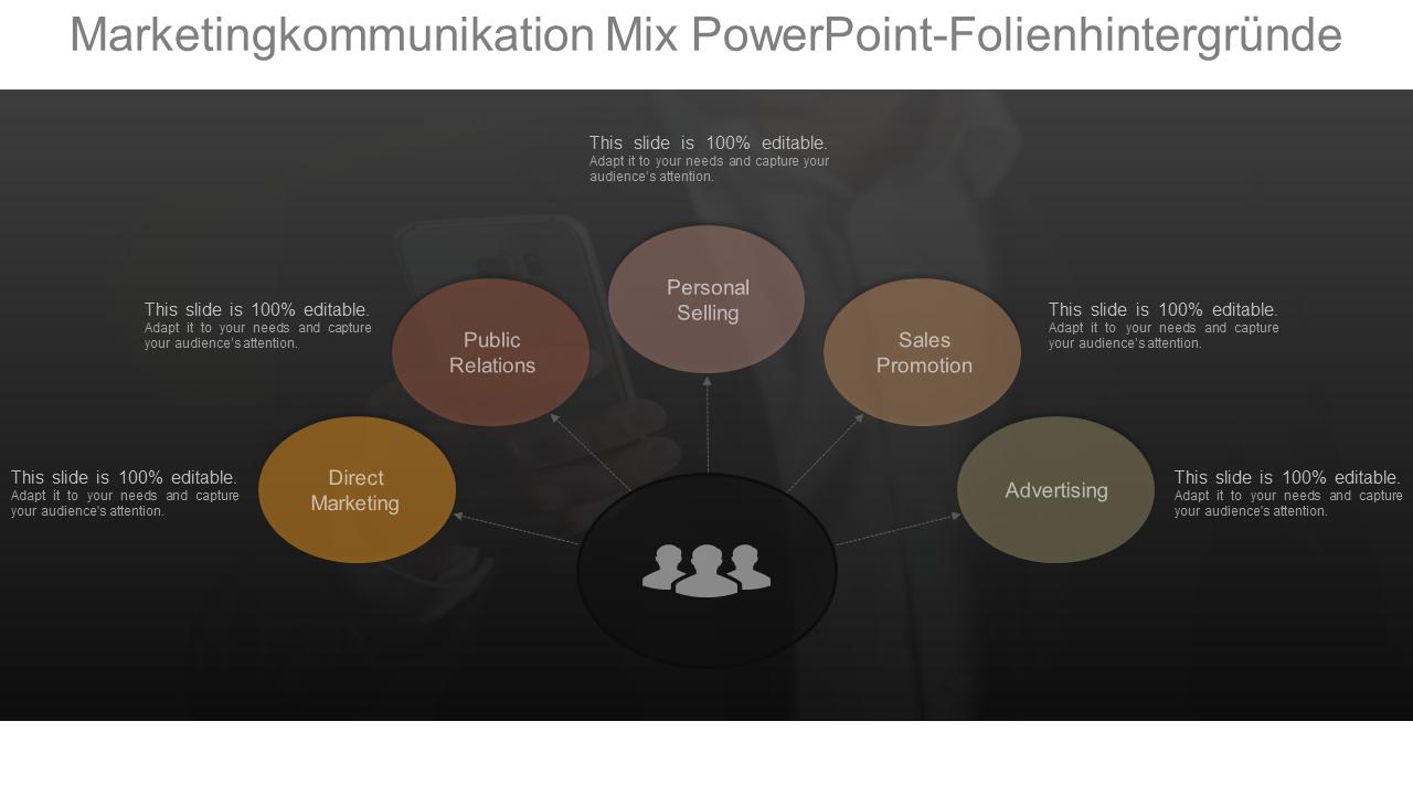 Marketingkommunikation Mix PowerPoint Folie