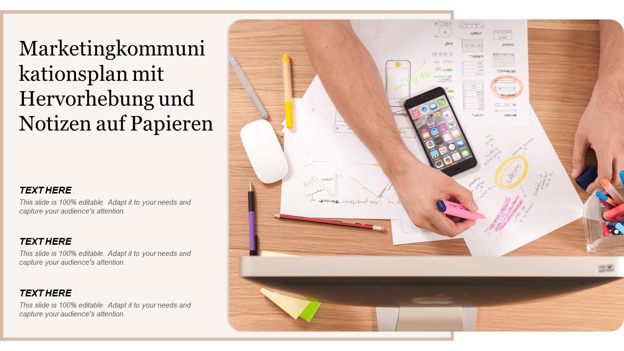 Marketingkommunikationsplan PowerPoint Folie