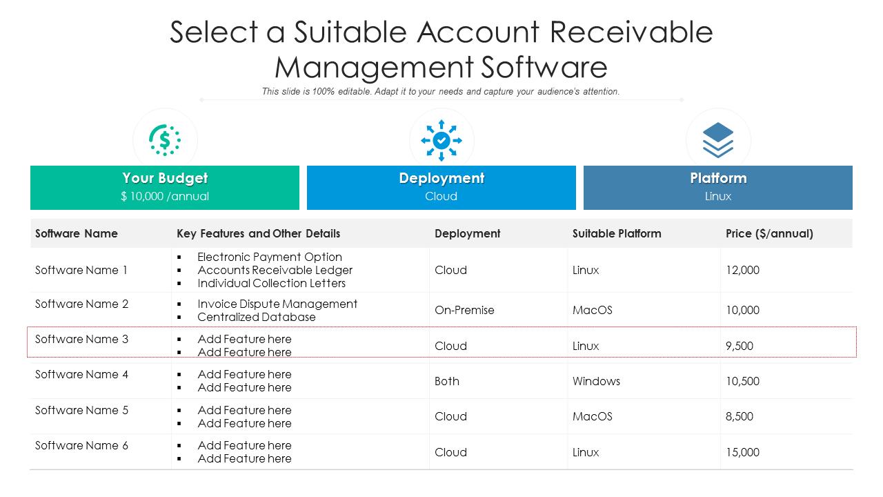 Select A Suitable Account Receivable Management Software PowerPoint Slides