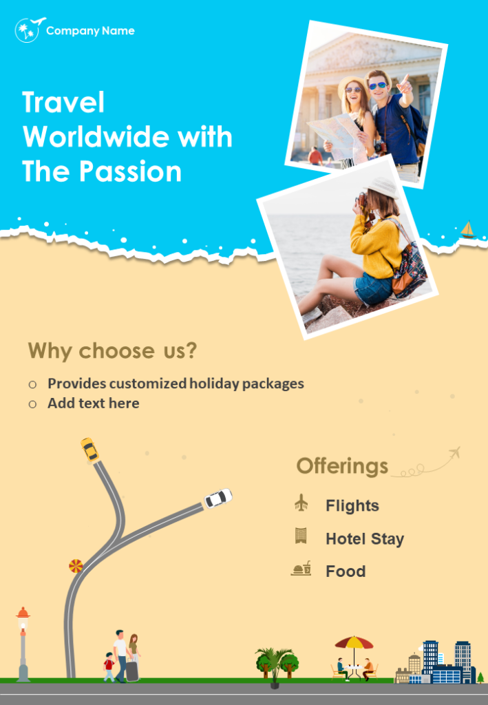 Travel Agency Business Two Page Brochure Template