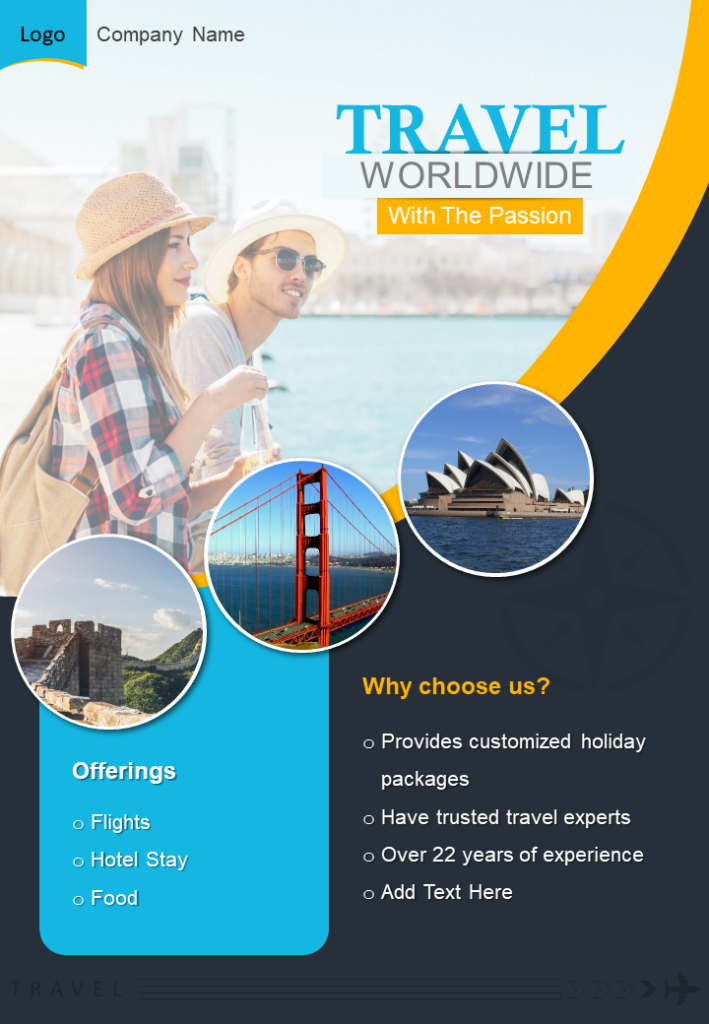 One Page World Travel Brochure Template
